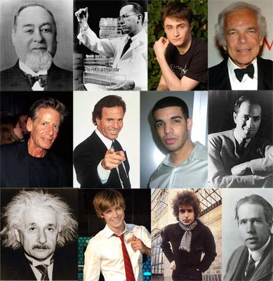 From top left: (top row) Levi Strauss, Jonas Salk, Daniel Radcliffe, Ralph Lauren, (middle row) Calvin Klein, Julio Iglesias, Drake Graham, George Gershwin, (bottom row) Albert Einstein, Zac Efron, Bob Dylan, Niels Bohr.