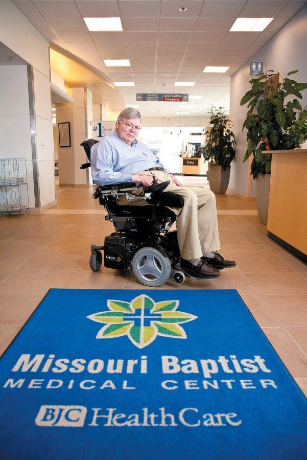 Phillip Fox in the lobby of Missouri Baptist Medical Center, where he volunteers. Photo:Lisa Mandel