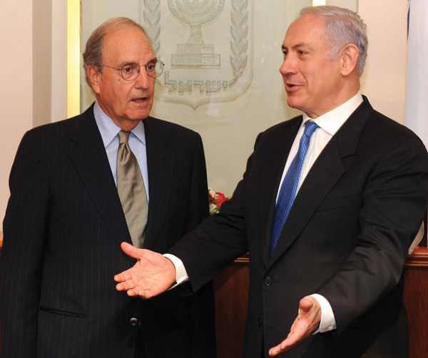 Israeli Prime Minister Bejamin Netanyau, right, seen here with U.S. special envoy to the Middle East George Mitchell in Jerusalem on August 11, 2010, welcomed Mitchells announcement of new direct talks between Israel and the Palestinians.