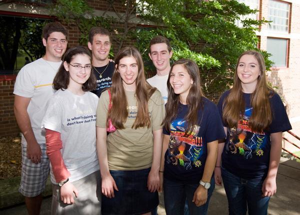 From left, Jesse Drapekin, Avital Shulman, Zachary Weinstock, Sydney Schein, Paul Lisker, Danielle Baron and Johanna Lowell were among this years Jewish students participating in UM-St. Louis STARS program.