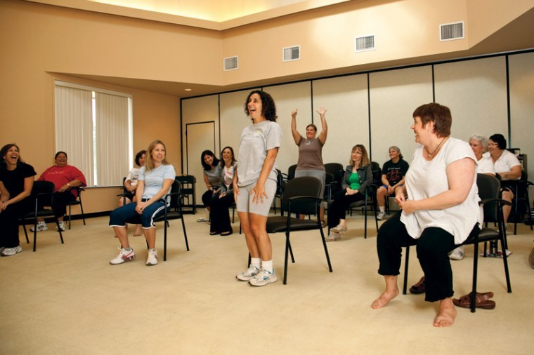 Saul Mirowitz Day School - Reform Jewish Academy head of school Cheryl Maayan takes part in a training seminar discussing methods of incorporating movement into classroom lessons.