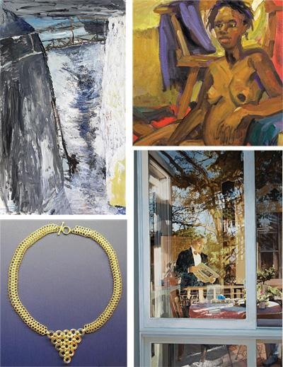 Artwork by (clockwise from top left)  Barbara Holtz, Sim Gellman, Linda Skrainka and Razine Wenneker are included in the 'Maturity and Its Muse' exhibit.