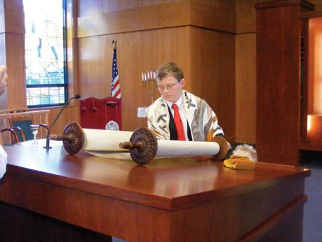 Ben Cohen during his bar mitzcah at Congregation Kol Am two years ago.