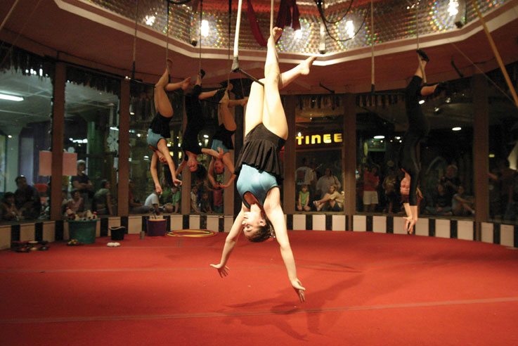 Eliana Hentoff-Killian hangs from the trapeze at the circus ring at the City Museum in 2009 during the final show of the Galilee Arches — a combined troupe of the Galilee Circus from Israel and the St. Louis Arches. File Photo: Mike Sherwin