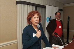'Light' Editor Ellen Futterman accepts the Press Club President's Award for Meritorious Achievement in Journalism, which was awarded by Richard Weiss (right) to the Light, Futterman, and Publisher/CEO Larry Levin. Photo: William Greenblatt