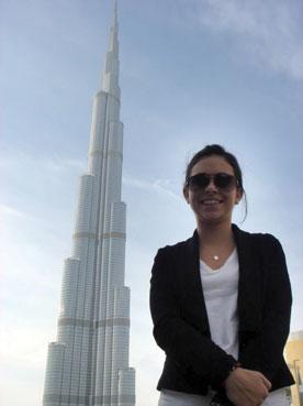 Washington University business student Danielle Rubin during a recent trip to United Arab Emirates.