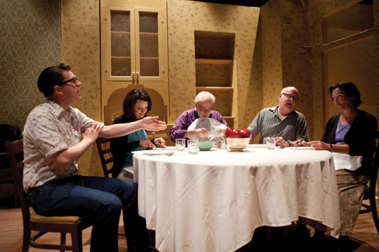 The cast rehearses 'Awake and Sing!' last week. From left are Aaron Orion Baker, Julie Layton, Bobby Miller, Gary Wayne Barker and Elizabeth Ann Townsend. Photo:  Lisa Mandel