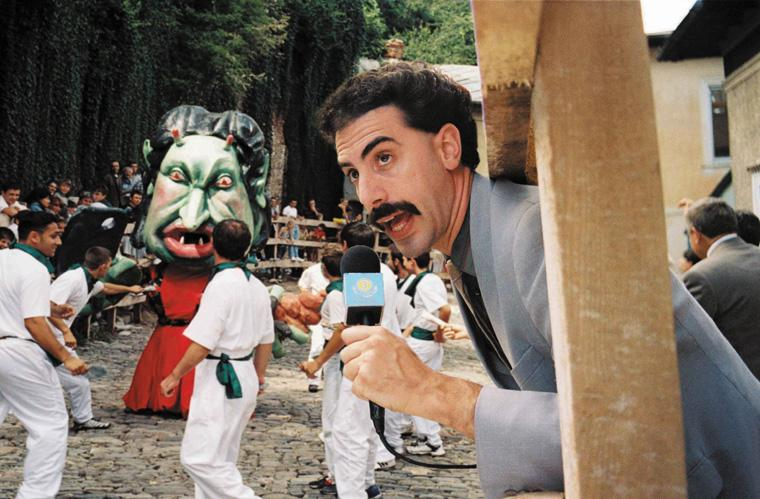 """Sacha Baron Cohen's  """"Borat: Cultural Learnings of America for Make Benefit Glorious Nation of Kazakhstan"""" depicts anti-Semitism in a satirical way."""