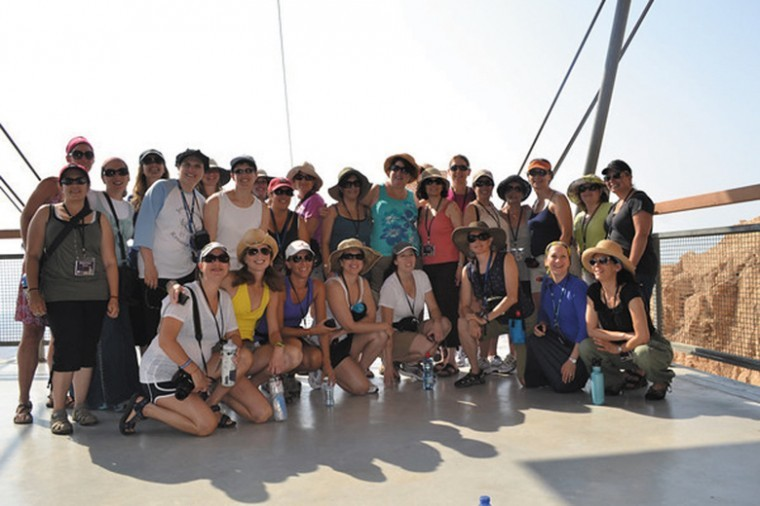 The group of 28 St. Louis Jewish mothers are pictured at Masada during the Aish HaTorah of St. Louis trip in July.