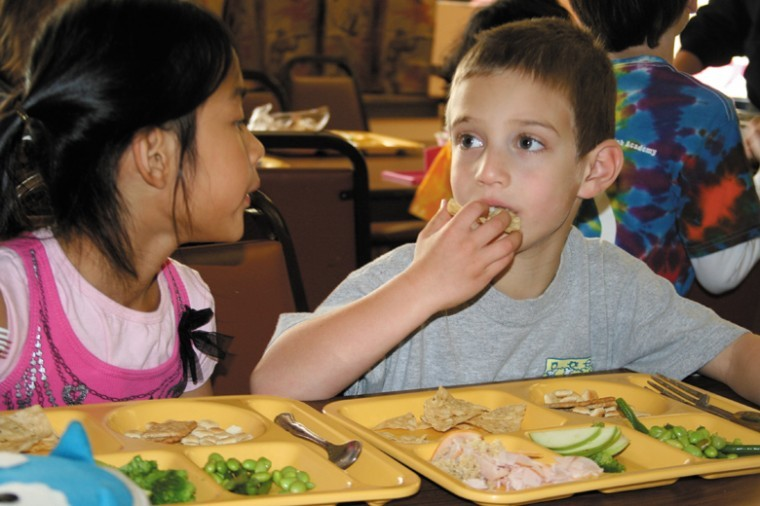 Students at Saul Mirowitz Day School - Reform Jewish Academy nosh on freshly prepared veggies for lunch - and the school even highlights a different vegetable or fruit each month. November, for example, is broccoli month.