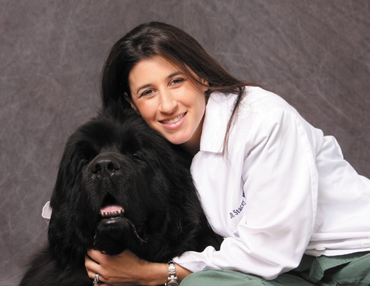 Dr. Stacey Wallach with her Newfoundland, Duke, one of her three dogs.
