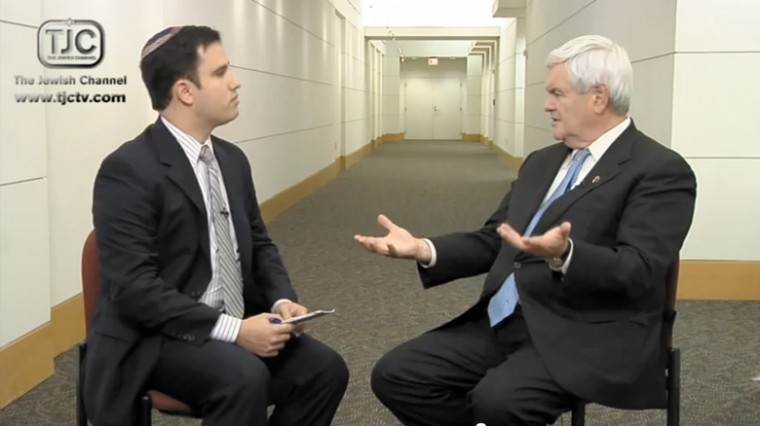 Steven I. Weiss interview with Republican primary candidate Newt Gingrich on The Jewish Channel stirred a media buzz and some criticism from GOP rivals over Gingrichs remarks, Dec. 9, 2011.