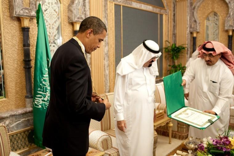 President Obama receives the King Abdul Aziz Order of Merit from Saudi King Abdullah bin Abdul Aziz in Riyadh, Saudi Arabia, June 3, 2009.