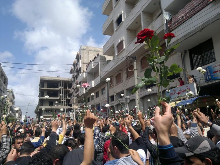 Syrians demonstrating in the coastal city of Banias against the regime of hard-line leader Bashar Assad in the spring of 2011.