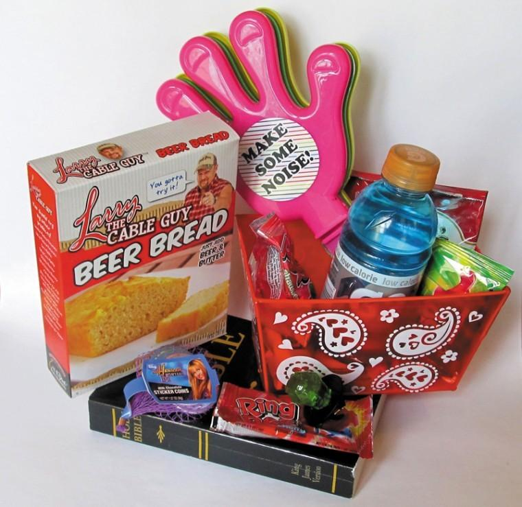 Discount Purim basket with a rich theme: Products purchased at a 99 Cents Only Store connect to characters in the Purim story.
