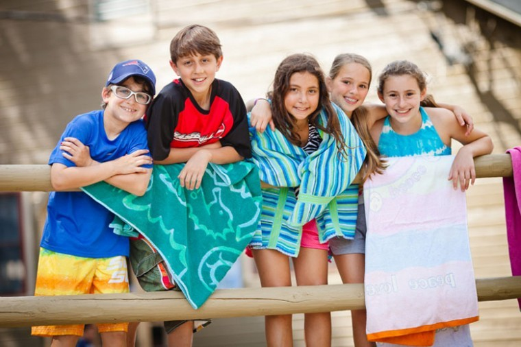 Campers at Camp Ramah in Nyack, N.Y. get ready to cool down in the lake during a hot summer day.