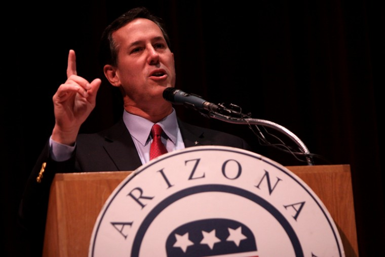 Jewish backers of Rick Santorum, shown speaking at an Arizona Republican Party fundraiser in Phoenix on Feb. 21, 2012, say Jewish voters should look past his hard-line social conservatism and consider his message on the economy and on Israel.