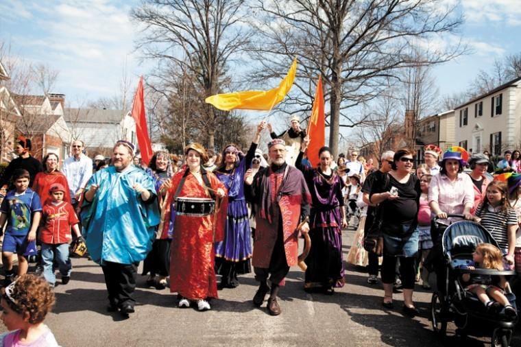 Beautiful weather made for a wonderful afternoon at the annual University City Purim Re-enactment Parade last year. Hundreds of costumed participants turned out for the parade.