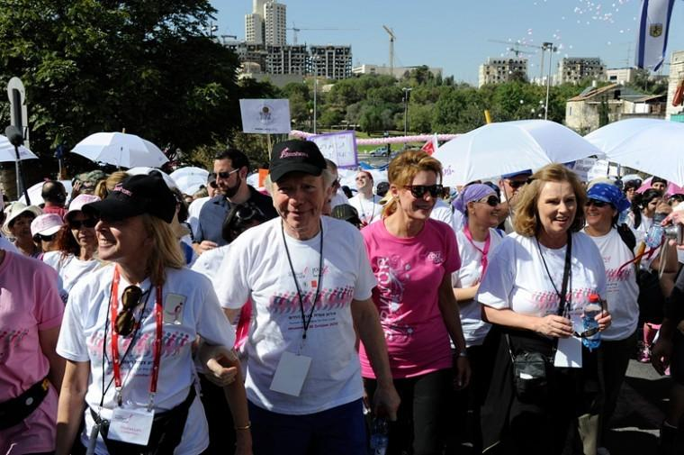 Sen. Joseph Lieberman participates in the Race for the Cure event in Jerusalem in 2010 with his wife Hadassah, left, and Komen founder Nancy Brinker.
