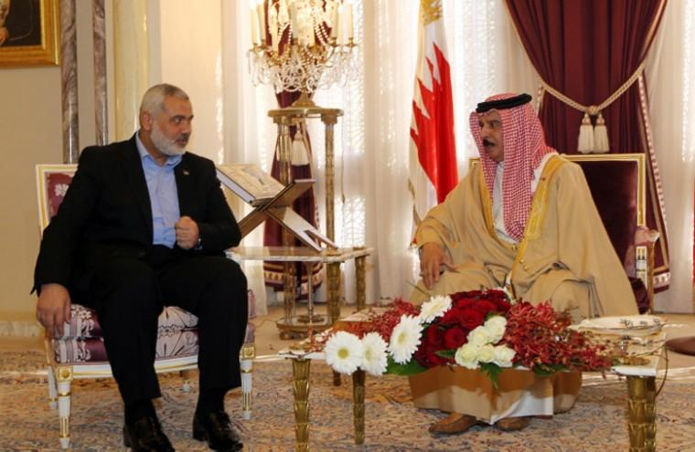 Ismail Haniyeh, the Palestinians prime minister in the Gaza Strip, meeting with Bahrains King Hamad bin Isa Al Khalifa in the Bahraini capital of Manama, Feb. 4, 2012.