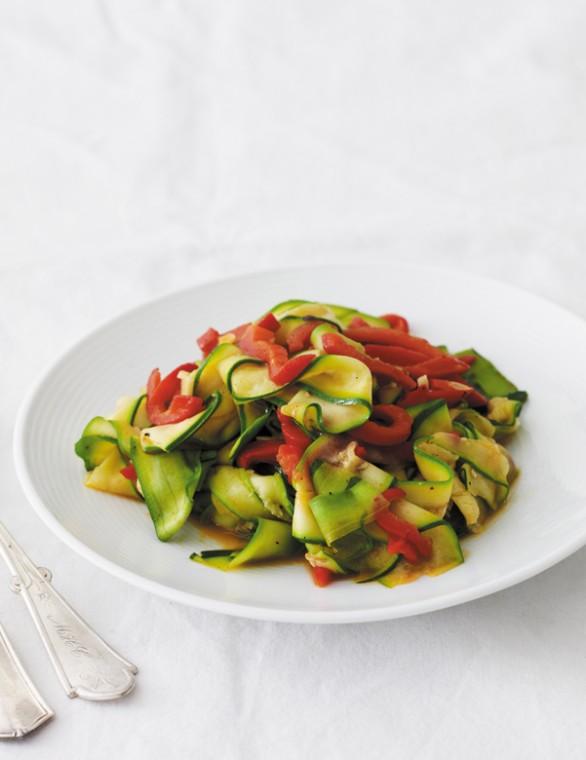 Zucchini and red bell pepper saute
