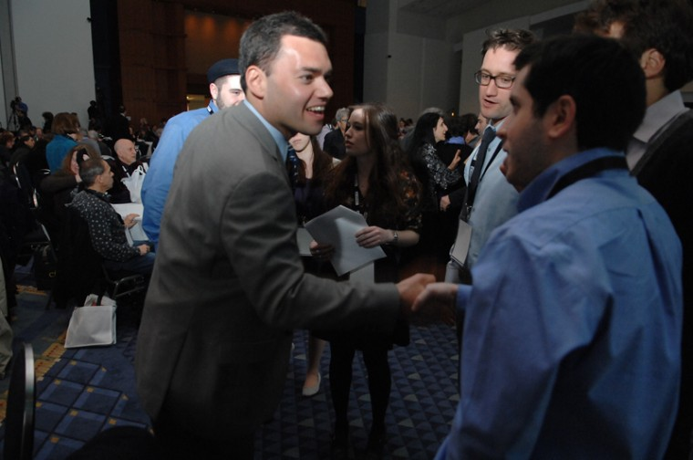 Peter Beinart, who called this week for a boycott of West Bank goods, meets students at the J Street national conference in February 2011. Beinart is due to keynote this years conference by the liberal pro-Israel group at the end of the month.