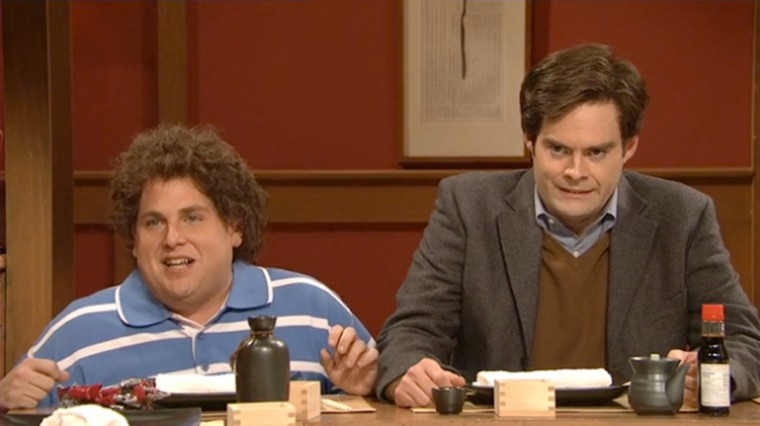 In a scene from Saturday Night Live, guest host Jonah Hill, left, plays outspoken Jewish 6-year-old Adam Grossman, March 10, 2012.
