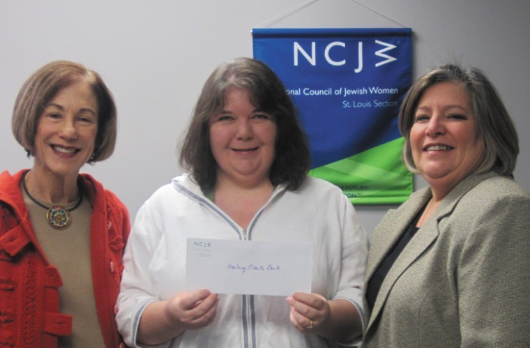 Presentation of NCJW's first micro-loan check to a Lydia's House resident. Left to right: Marilyn Ratkin (NCJW Project Chair), Lisa Moseley (Lydia's House Program Director) and Ellen Alper (NCJW Executive Director).