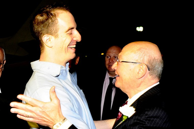 Rep. Gary Ackerman (D-NY), right, greets Ilan Grapel, a dual U.S.-Israeli citizen who had been a former Ackerman intern, on Oct. 27, 2011, following the latter's release from imprisonment in Egypt.