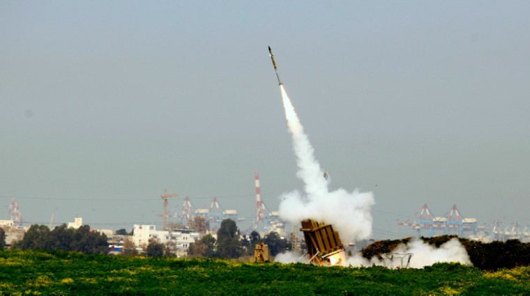 Israels Iron Dome defense system near the Israeli town of Ashdod has intercepted a volley of rockets fired by terrorist groups from the Gaza Strip area, March 11, 2012.