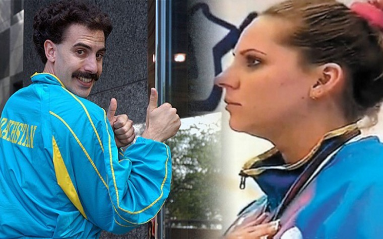 Kazakh shooter Maria Dmitrenko had to listen to a spoof of the national anthem of Kazakhstan from the movie Borat as she received a gold medal at the Arab Shooting Championship in Kuwait, March 22, 2012.
