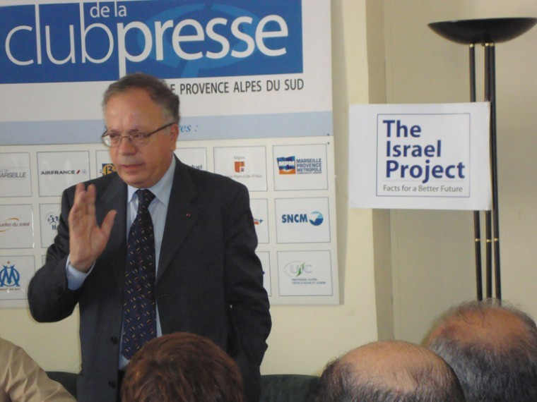 Yehuda Lancry, a former Israeli ambassador to French, spoke to French journalists in Marseille in June 2011 in a talk organized by the Israel Project.