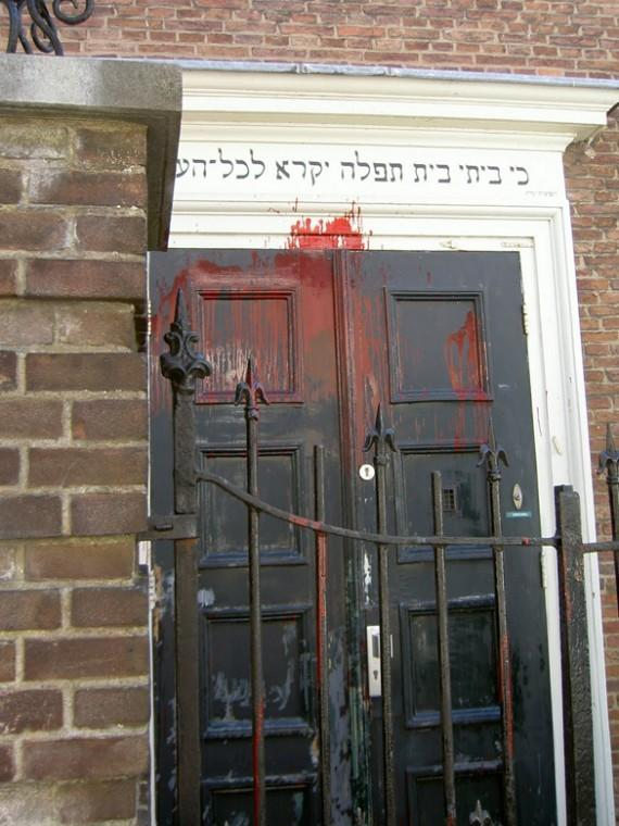The aftermath of an attack on a synagogue in Amersfoort, the Netherlands, in 2010.