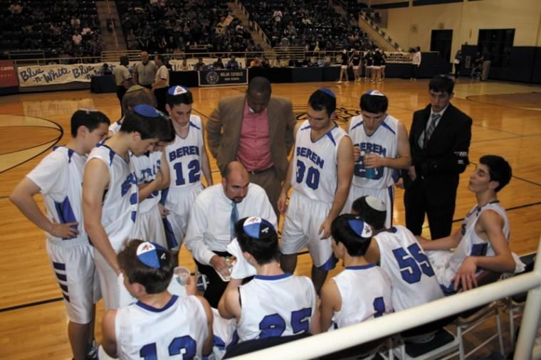 Beren+coach+Chris+Cole+instructing+his+players+during+a+timeout+at+the+championship+game%2C+March+3.%0A