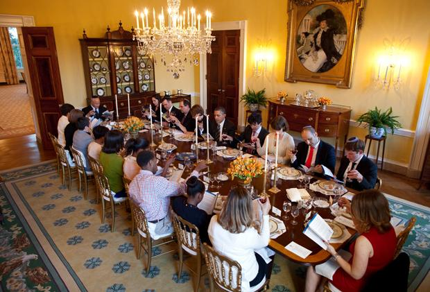 President Obama, shown hosting a Passover seder at the White House on April 6, 2012, has gained Jewish support in the last half year, according to a new poll.