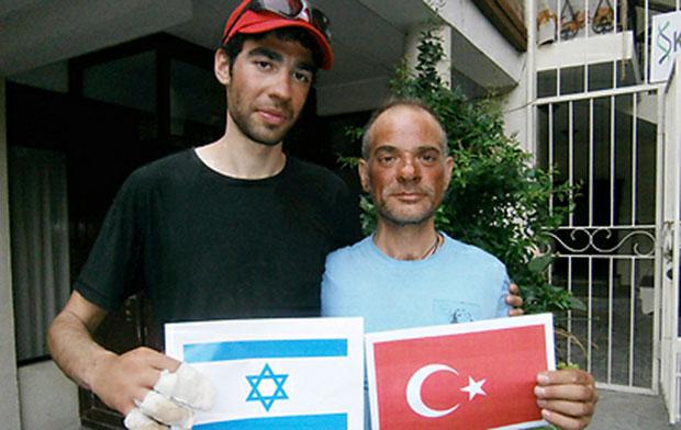 Israeli climber Nadav Ben-Yehuda, left, together with Turkish climberAydin Irmak, whose life Ben-Yehuda saved near the Mount Everestsummit.
