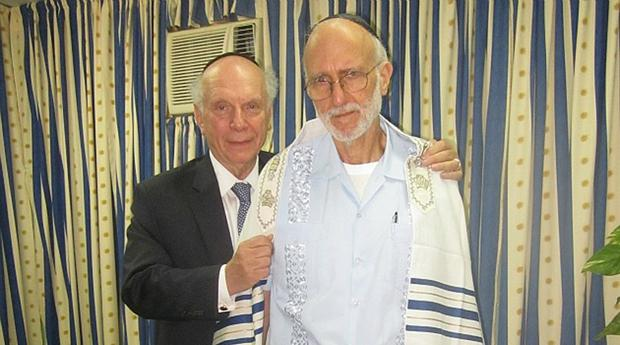 Rabbi Arthur Schneier, left, meets with U.S. subcontractor Alan Gross in the Havana prison facility where Gross is being held, March 6, 2012.