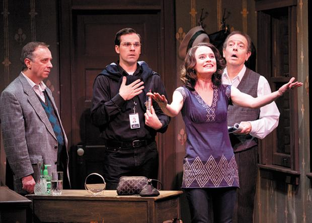 From left, Terry Meddows, Justin Ivan Brown, Julie Layton, Bobby Miller perform in the New jewish Theatre's production of 'Jacob and Jack.'
