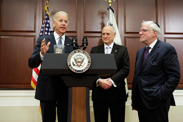Vice President Joe Biden, left, speaking with Richard Stone, Chairman, and Malcolm Hoenlein, Executive Vice Chairman, of the Conference of Presidents of Major American Jewish Organizations, May 21, 2012.