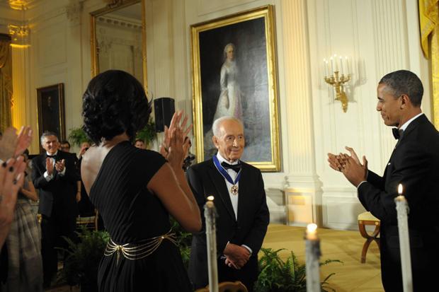 President Obama presenting the Presidential Medal of Freedom toIsraeli President Shimon Peres in the East Room of the White House inWashington, June 13, 2012.