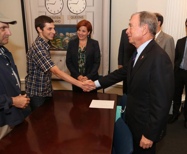 New York Mayor Michael Bloomberg meeting with Gilad Shalit in a ceremony commemorating the sixth anniversary of the ex-Israeli soldier's capture, June 25, 2012.