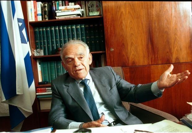 Israeli Prime Minister Yitzhak Shamir in his office in Jerusalem in 1992, one week before he lost the elections to the Labor's Yitzhak Rabin.