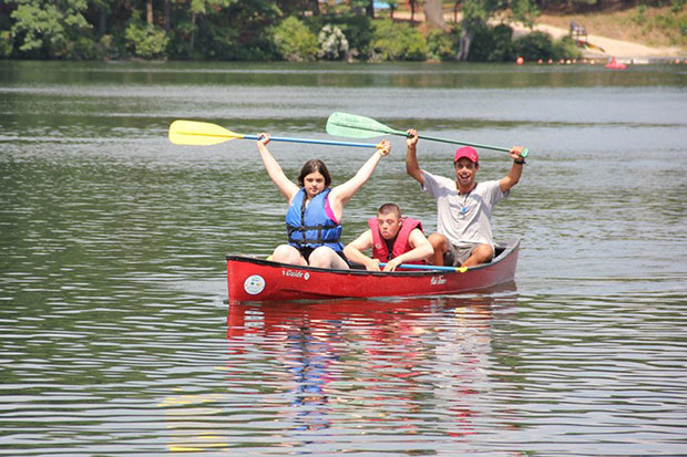 Canoers in the Tikvah program at Camp Ramah in Palmer, Mass., which accommodates youngsters with special needs.