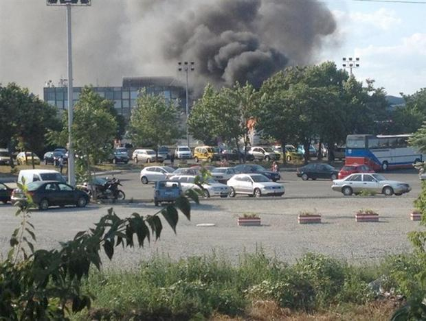 Smoke rising from the Sarafovo Airport in Burgas, Bulgaria, after a terror attack on an Israeli tour bus, July 18, 2012.