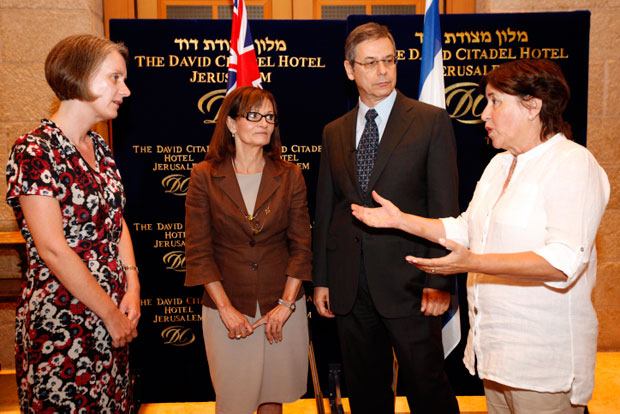 Munich+11+widows+Elana+Romano%2C+second+from+left%2C+and+Ankie+Spitzer%2C+right%2C+with+Australian+Ambassador+to+Israel+Andrea+Faulkner+and+Israeli+Deputy+Foreign+Minister+Danny+Ayalon+at+a+meeting+in+Jerusalem%2C+July+3%2C+2012.%0A