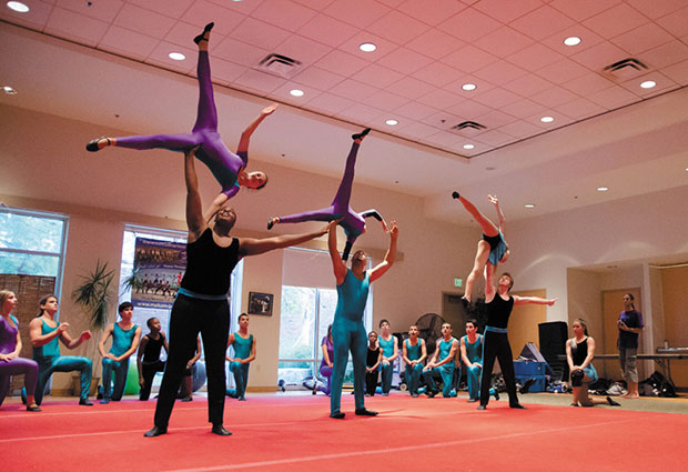 From left, Reggie Moore, Hala Assadi, Ali Hassarmi, Hla Assadi, Meghan Clark and Max Pepose perform at Central Reform Congregation last week. The performers are part of the St. Louis Flying Arches and the Galilee Circus from Israel.