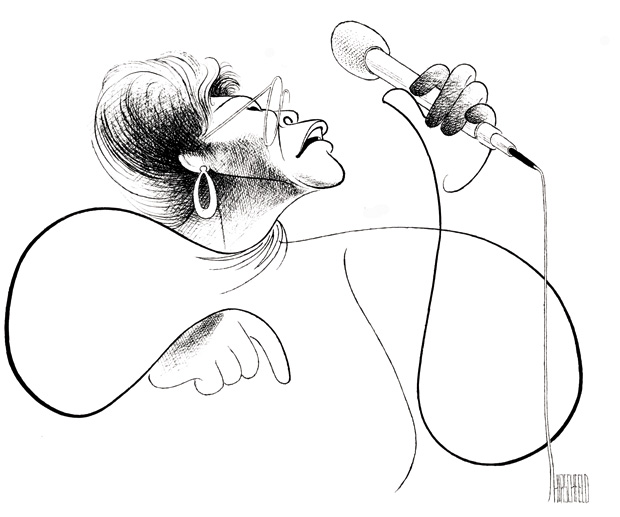 Al Hirschfeld (American, 1903-2003), Ella Fitzgerald, lithograph of 1993 drawing, 21 x 27 inches. © and collection of The Al Hirschfeld Foundation. www.AlHirschfeldFoundation.org. Al Hirschfeld is represented by the Margo Feiden Gallery.