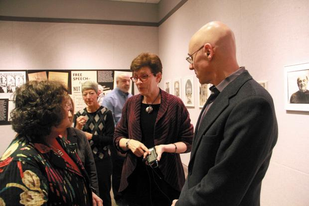 Jewish+Community+Relations+Council+Executive+Director+Batya+Abramson-Goldstein+%28left%29+talks+with+HMLC+director+Jean+Cavender+and+Federation+CEO%2FPresident+Andrew+Rehfeld+during+the+opening+of+the+%E2%80%98Standing+for+Justice%E2%80%99+exhibit.+Abramson-Goldstein+was+the+guest+speaker+at+the+opening+event.+Photo%3A+Philip+Deitch%0A