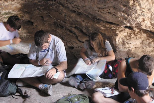 Participants+of+the+Alexander+Muss+High+School+in+Israel+%28AMHSI%29+program+study+in+a+cave+near+the+Madras+Ruins+just+south+of+Jerusalem.+Photo%3A+Lis%C3%AB+Stern%2FJTA%0A