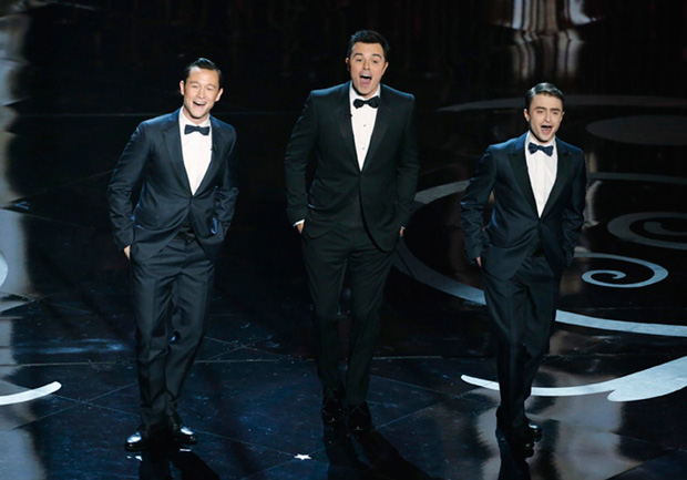 Left to right, Joseph Gordon-Levitt, Seth MacFarlane and Daniel Radcliffe dancing in the opening routine of the 85th Academy Awards, Feb. 24, 2013. Photo: Disney ABC Television Group